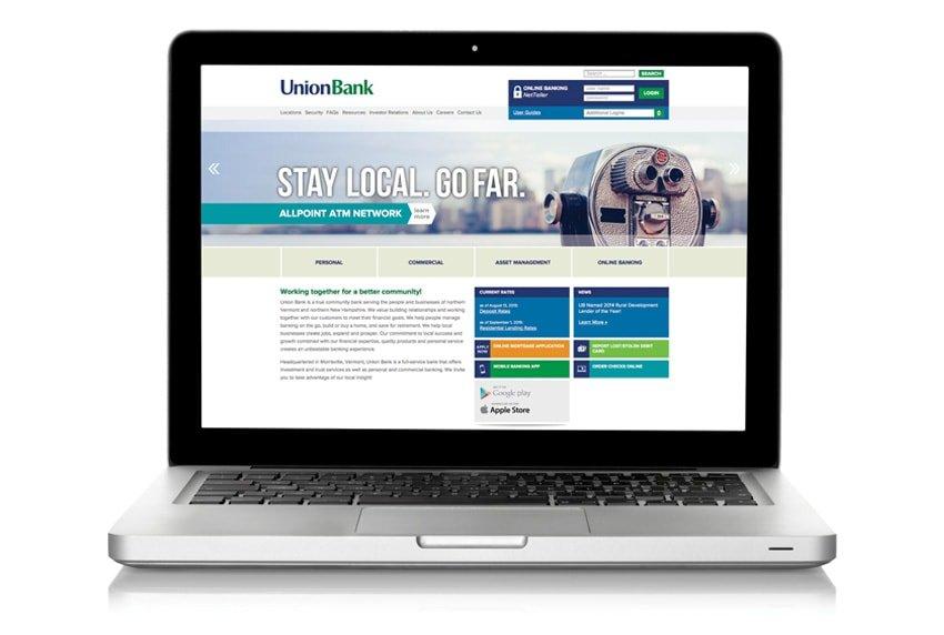Union Bank Website on Laptop