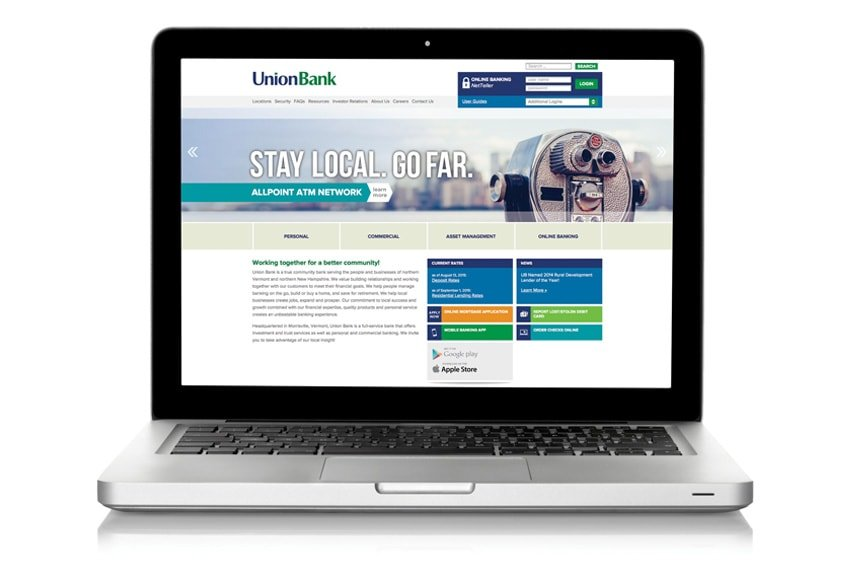 Union Bank Website on Laptop