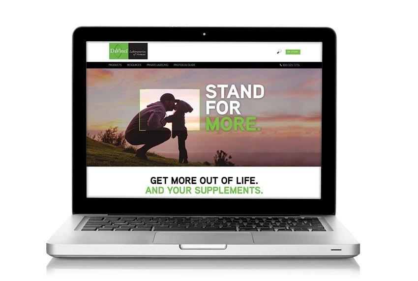Davinci Website on Laptop